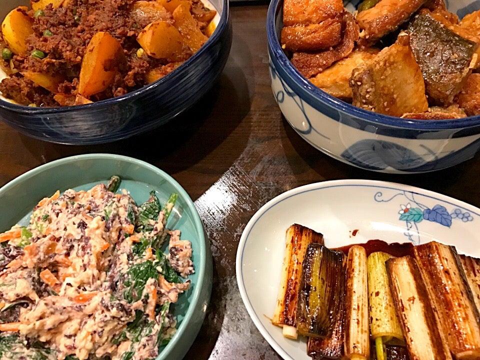 ・かぶのキーマカレー ・フクラギのごまマリネ ・小松菜と黒ばらのりの白和え ・ネギのマリネ SnapDish 料理カメラ