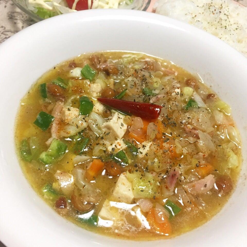 ベーコン豆腐ナメコ野菜スープカレー SnapDish 料理カメラ