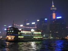 船から香港夜景