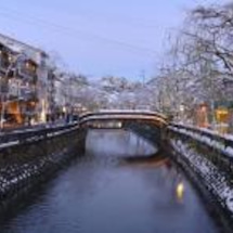 城崎温泉の雪景色が綺…