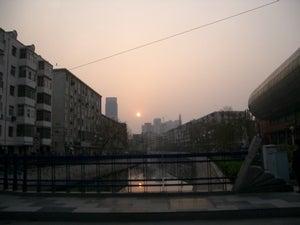 天津の夕日