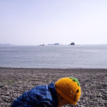海辺の公園で