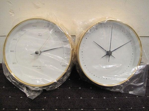 georg jensen clock barometer designed by henni. Black Bedroom Furniture Sets. Home Design Ideas