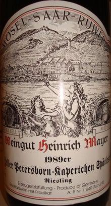 個人的ワインのブログ-Zeller Petersborn-Kapertchen Heinrich Mayer 1989