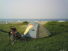 歩き人ふみの徒歩世界旅行 日本・台湾編-海岸でテント