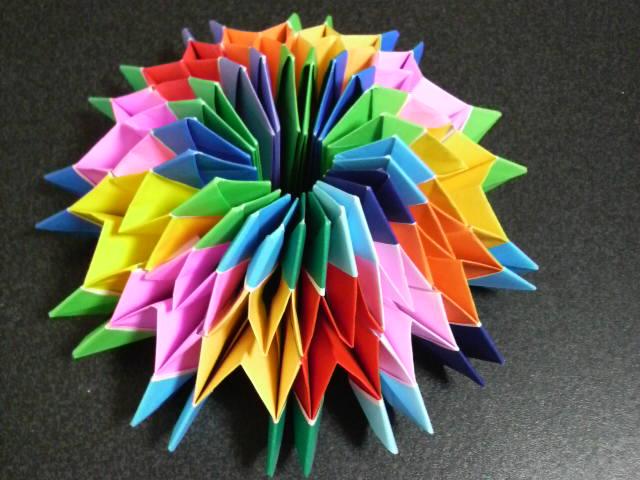 折り紙 万華鏡 作り方 折り紙万華鏡の作り方【8色、全192枚】