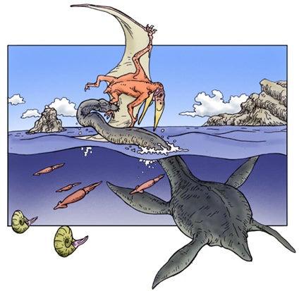 川崎悟司 オフィシャルブログ 古世界の住人 Powered by Ameba-翼竜を捕らえるエラスモサウルス