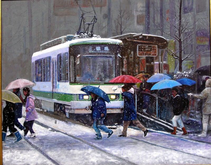 渡辺元司の絵画作品-雪の降る街を