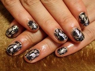 ペイントの練習~☆黒レース風ネイル|ネイルのレシピ〜渋谷・大人の女性のためのネイルサロン「マニコード」のブログ