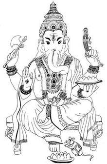 $神様集まれ!【インド神様大事典】-ガネーシャ神イラスト