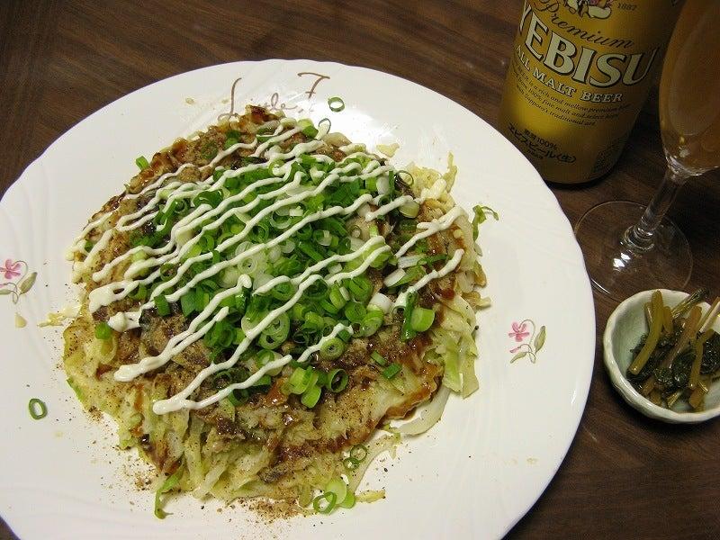 宅ひとりごはん-2/14 晩 牡蠣のお好み焼き