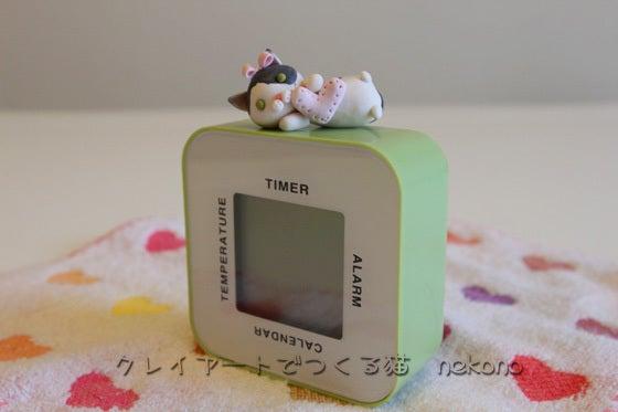 クレイアートでつくる猫 nekonoのブログ-時計に乗る猫
