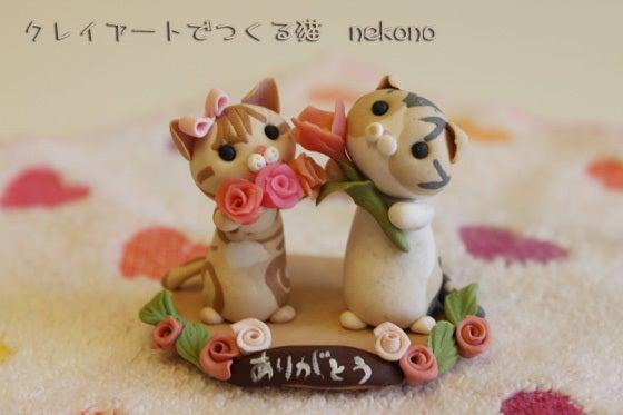 クレイアートでつくる猫 nekonoのブログ-母の日 薔薇とチューリップ