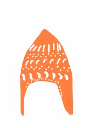 ジョウトウの右往左往-耳付きペンギン帽子 オレンジ ラフ画