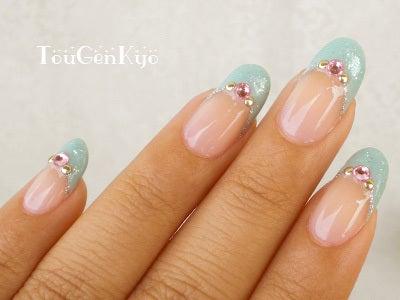 桃源郷 side-Nail-水色フレンチとピンクキャンディ1