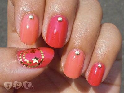 桃源郷 side-Nail-ピンクでポップなニコちゃんネイル1