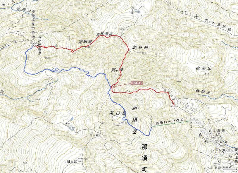 """げたにれの """"日日是言語学""""-三斗小屋温泉への地図"""
