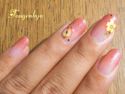 桃源郷 side-Nail-りんごの花グラデネイル1