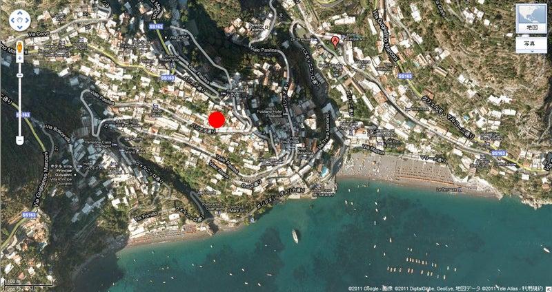 【彼女の恋した南イタリア】 ~ diario-ポジターノ Villa Gabrisaの水平地図
