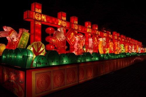 中国大連生活・観光旅行通信**-大連労働公園 煙花爆竹迎春灯会