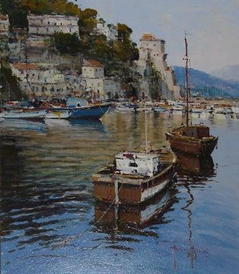 【彼女の恋した南イタリア】 ~ diario-チェターラの港の風景画