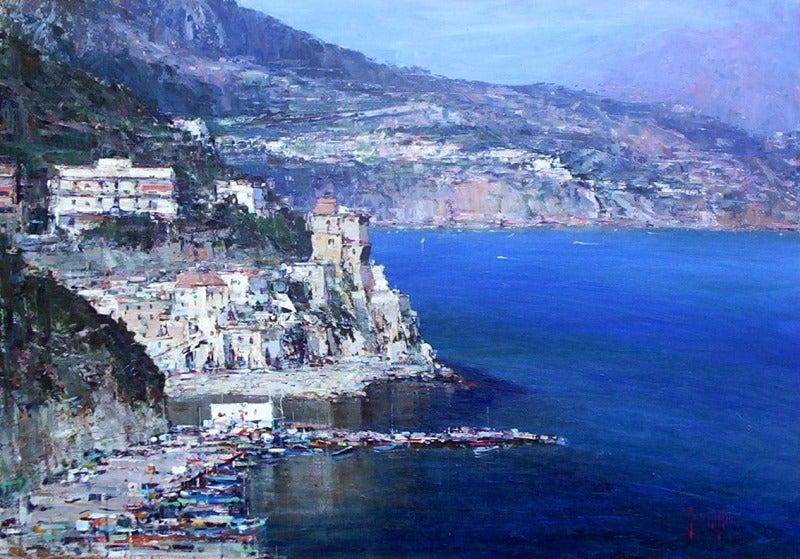 【彼女の恋した南イタリア】 ~ diario-チェターラの街と港の風景画