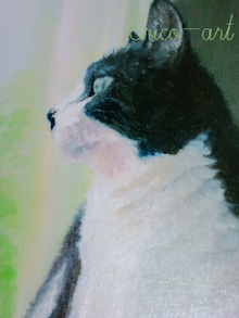 ファンタジー油絵描きErico(エリコ)の動物・ペット肖像画館-ハチワレ猫