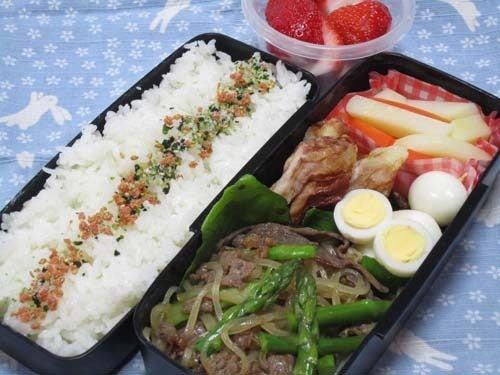 韓国料理サランヘヨ♪ I Love Korean Food-息子のお弁当は牛肉とアスパラのチャプチェ