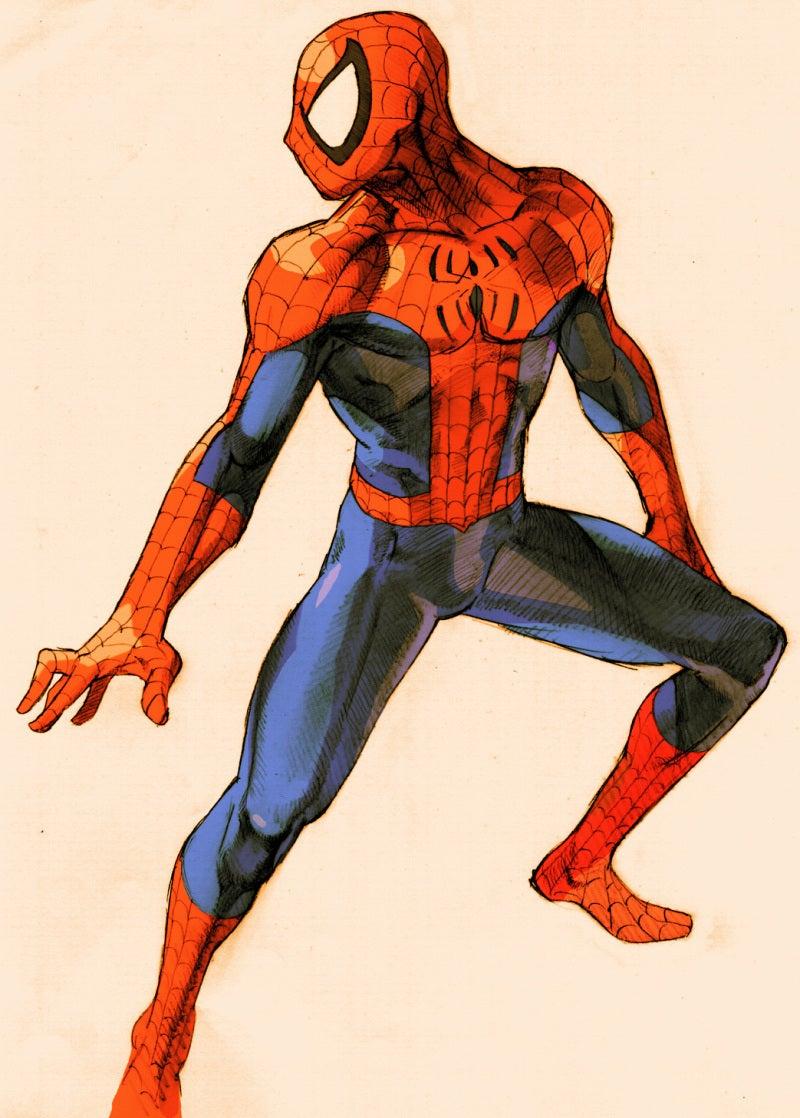 アナログタッチのスパイダーマンのイラスト