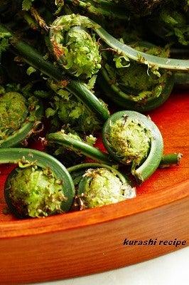 旬菜料理家 伯母直美  野菜の収穫体験ができる料理教室 暮らしのRecipe-こごみアップ
