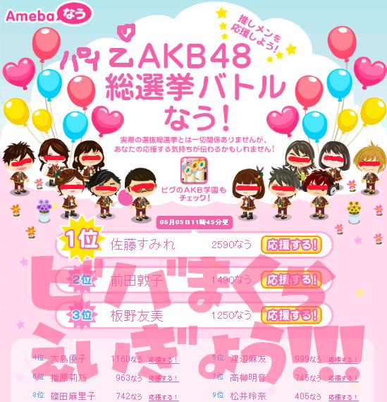 ハルKARAの量産型お尻テポドン夢日記-akb総選挙2011順位結果バトルアメーバなう画像