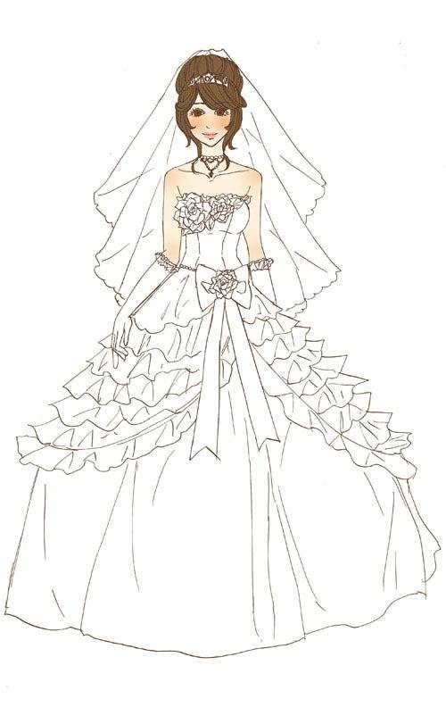 ウェディングドレス ウェディングドレス イラスト  イラストレーター☆田中さん .
