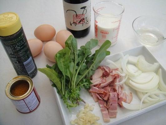 長澤家のレシピブログ-カレーカルボナーラ食材画像