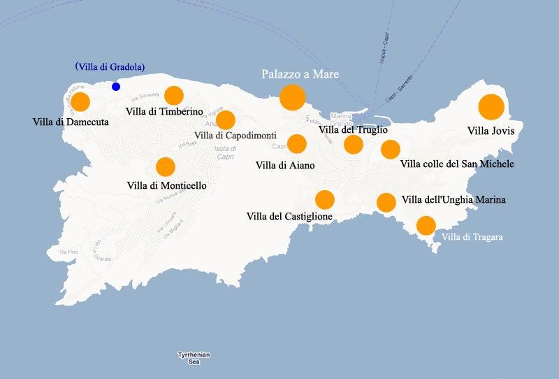 【彼女の恋した南イタリア】 - diario  イタリアリゾート最新情報    -カプリ島ローマ皇帝12ヴィラの全地図