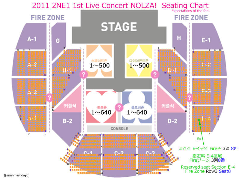 A9i-2NE1 1st Concert NOLZA! 座席表 予想