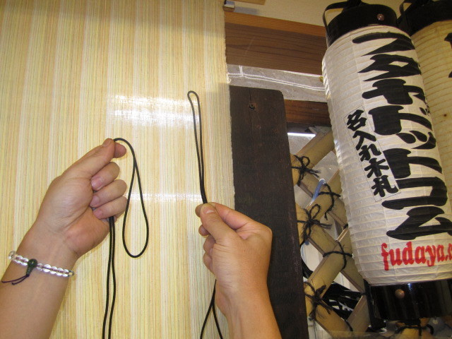 $正絹製首掛紐と通常の一般首掛紐