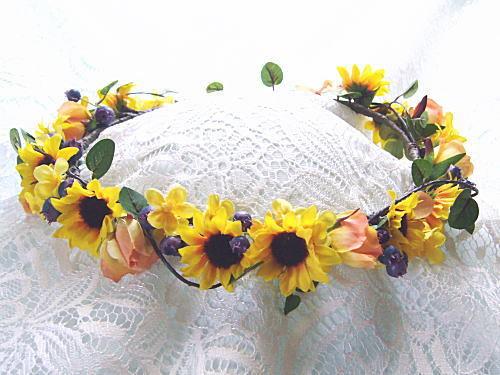 花嫁のブーケ-花冠ヒマワリ