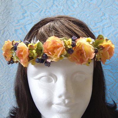 花嫁のブーケ-花冠RING018-オレンジ