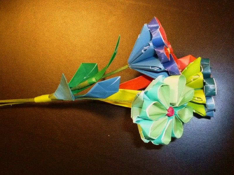 すべての折り紙 折り紙 プレゼント 花束 : 折り紙アート花束|lovesatomi10の ...