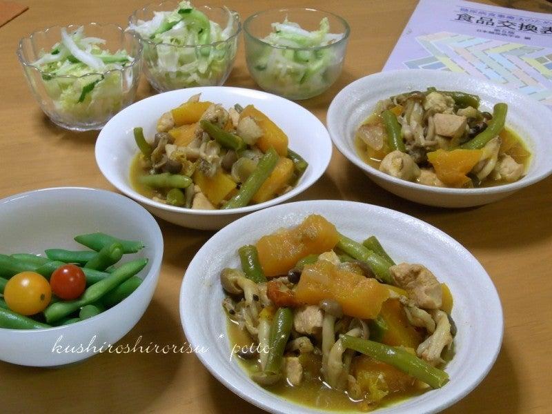 kushiroshirorisuな日々-ズッキーニ&インゲンのカレー風味煮