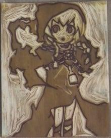 壺からトド-ゴム版画
