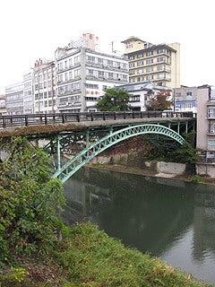 晴れのち曇り時々Ameブロ-飯坂温泉街と十綱橋