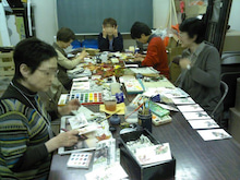 絵手紙あそび-教室風景1108