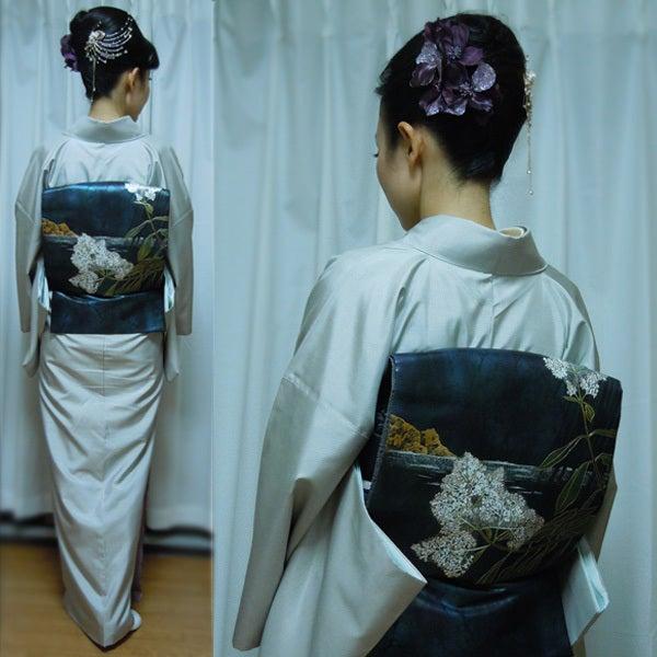Yukoのハンドメイド+着物雑記-田中一村の着物(後ろ)