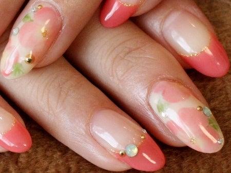 ネイルのレシピ~マニコードのジェルネイル@松濤(渋谷)~-1112コーラルピンクのグラデ花@2