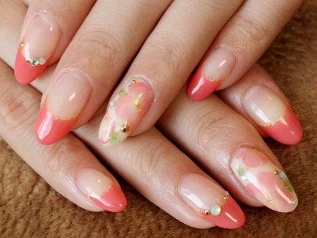 ネイルのレシピ~マニコードのジェルネイル@松濤(渋谷)~-1112コーラルピンクのグラデ花