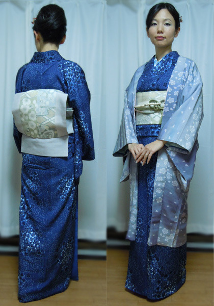 Yukoのハンドメイド+着物雑記-桜柄の藍染め小紋