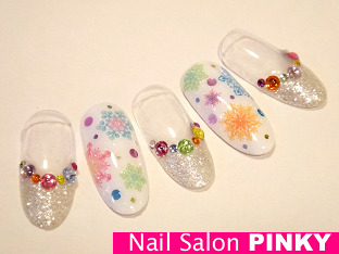 PINKY's nailog-カラフルスノウネイル