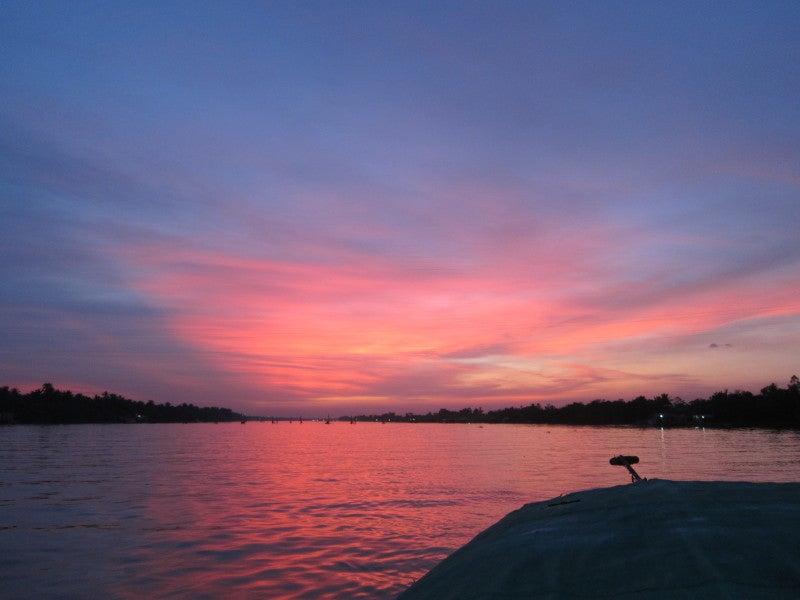 東南アジア - 旅ブログ-メコンデルタ夕陽