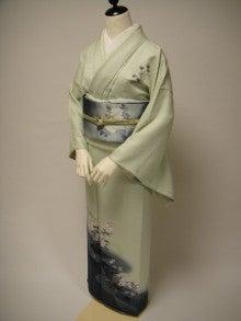 kuwashi KIMONO RENTAL店主のブログ-ライトグリーン螺鈿正絹訪問着 染袋帯フルセット